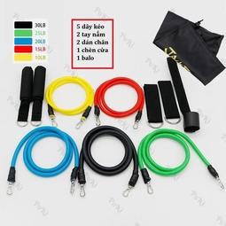Dây đàn hồi tập Gym S2-11X, bộ dây tập thể lực 5 màu - Bộ 11 chi tiết, dây tập kháng lực 100LB tiêu chuẩn
