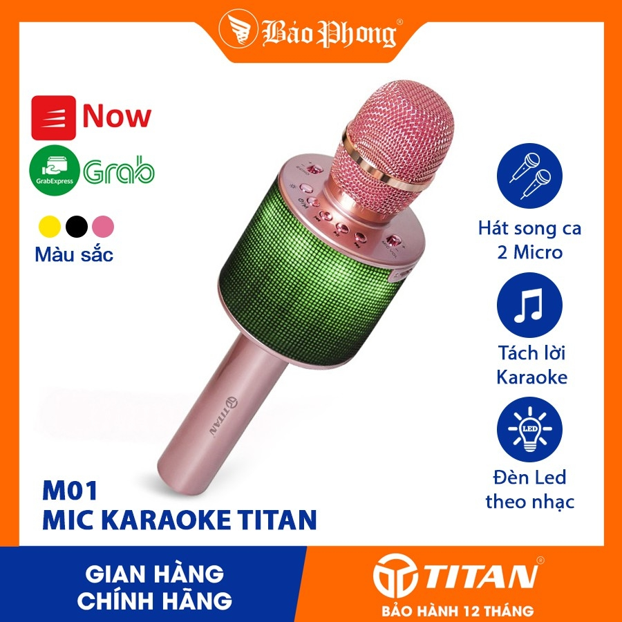 Mic Hát Karaoke Đôi TITAN M01 Kết Nối Bluetooth