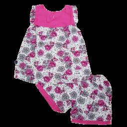 Z190-M9- Bộ lanh bé gái, cộc tay, dáng xòe, in cành hoa, hồng sen, size to 11-16.Vải lanh là một loại vải được làm từ sợi của cây lanh.