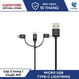 Cáp Sạc 3 Trong 1 micro USB + Type C + Lightning Promate UNILINK-TRIO.SILVER Chuẩn MFi Apple Dài 1,2m- Nhà Phân Phối chính hãng.