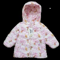 N845-M1-Áo phao bé gái, dài tay, khóa mũ, lót nỉ, in gấu, nền trắng, size nhí 9M-48M,lớp bông bên trong là sợi tổng hợp, hoặc lông tự nhiên.