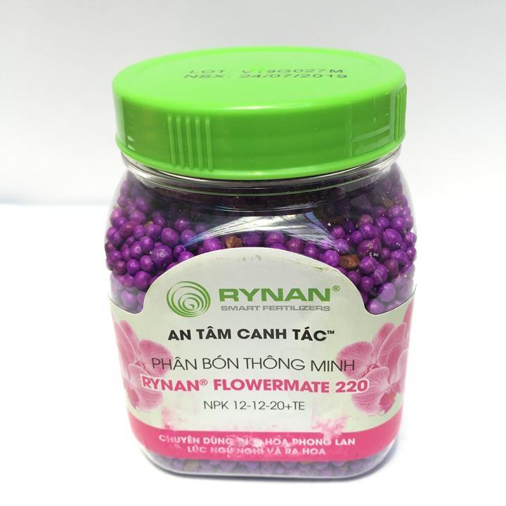Phân tan chậm thông minh Rynan Flowermate 220 NPK 12-12-20 TE hũ 150g chuyên dùng cho các loại Phong Lan đang ra hoa