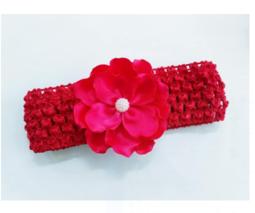 Băng đô lưới thun mềm hoa satin 6.5cm xinh xắn