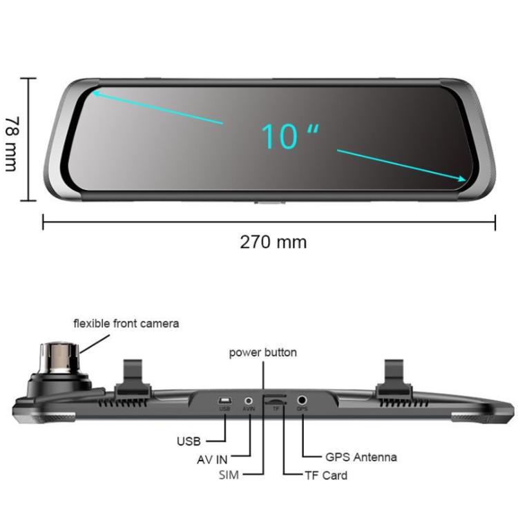 Camera hành trình gương Phisung 4G Wifi GPS 10'' cao cấp E08-E ...