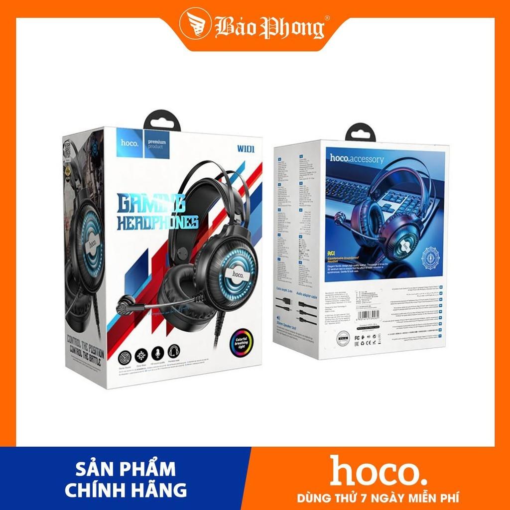 Tai nghe Gaming HOCO W101 có dây chụp tai chân tròn 3.5mm có micro cho game thủ Dành cho điện thoại iPhone iP Samsung