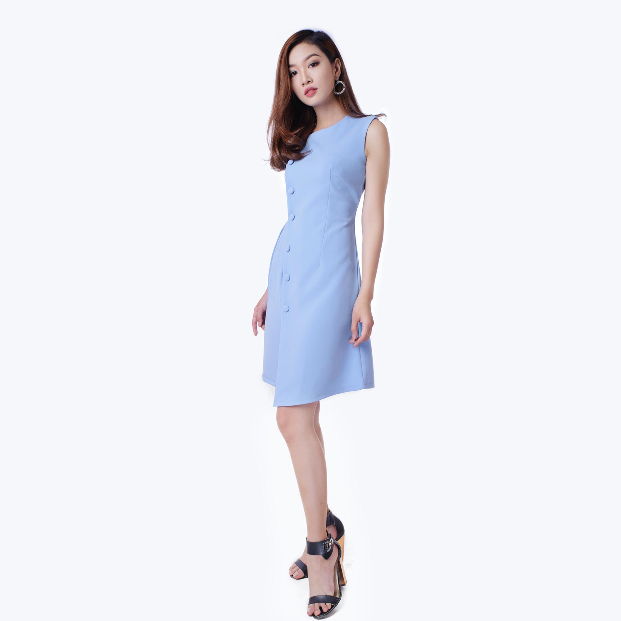 Đầm Công Sở Phối Nút Eo Nhúng Dễ Thương Thời Trang Eden - D146 - Màu xanh nhạt