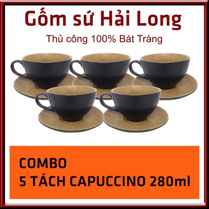 Tách cafe capuccino gốm sứ Bát Tràng 280ml men đen lòng gấm