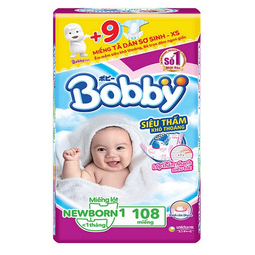 Miếng lót Bobby Newborn 1-108 miếng kèm 9M tã dán