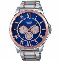 Đồng hồ nam CASIO MTP-E318RG-2BVDF kính khoáng dây kim loại trắng vàng