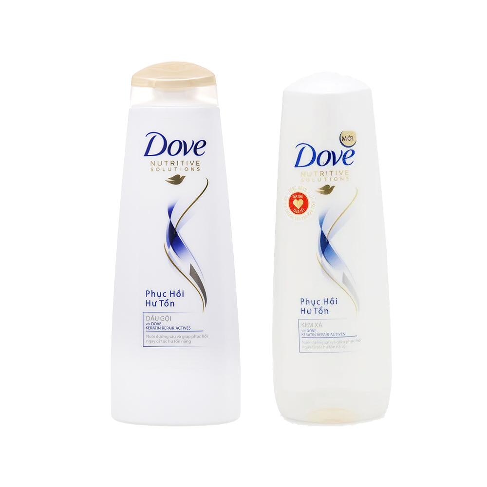 Combo Dầu gội Dove phục hồi hư tổn chai 340g và Kem xả Dove Phục hồi hư tổn chai 335g