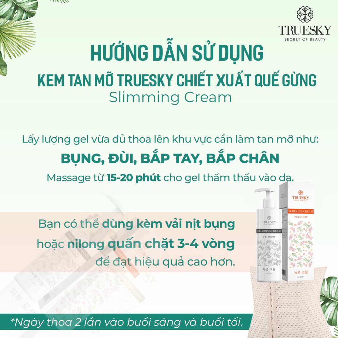 Kem tan mỡ bụng cấp tốc chiết xuất quế gừng Truesky Premium dạng vòi nhấn tiết kiệm 200ml - Slimming Cream