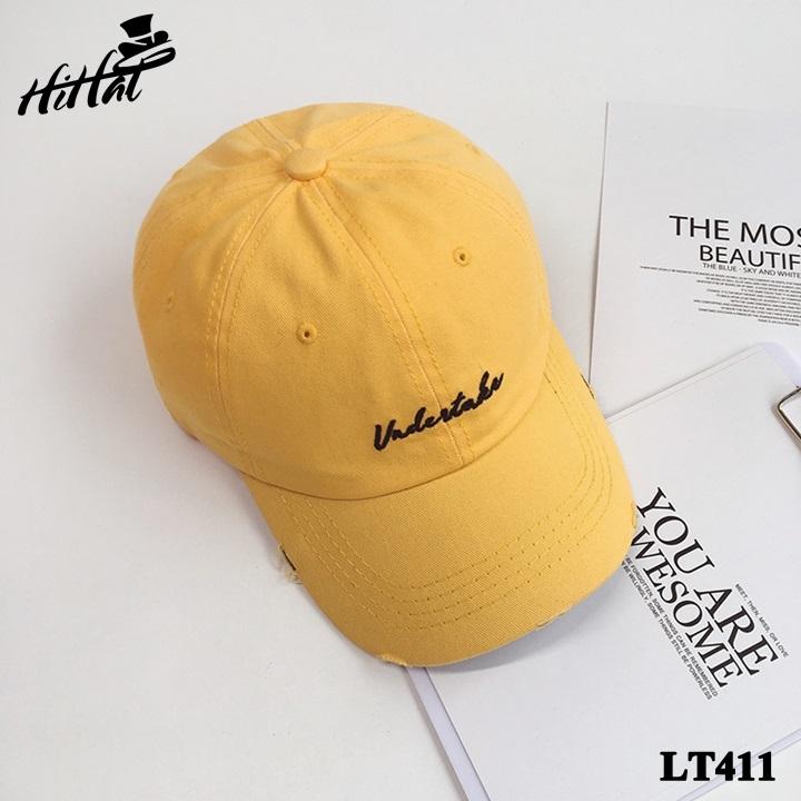 Mũ kết thêu chữ đơn giản, rách viền cá tính - màu vàng LT411v