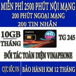 Sim 4G Vinaphone TG245-Tặng 10GB-Tháng + Nghe Gọi,Nhắn Tin Miễn Phí