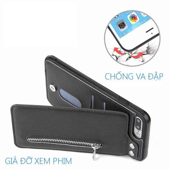 Bao da Iphone X, Xs, Xs Max, Xr kiêm ví đựng tiền, thẻ, card rất tiện lợi