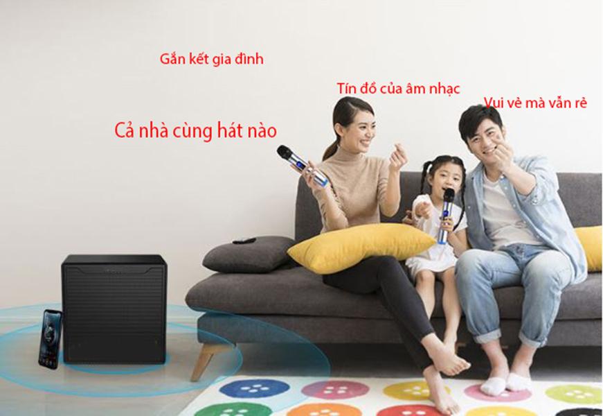 Bộ loa karaoke 2 micro UHF dùng tivi smart và điện thoại