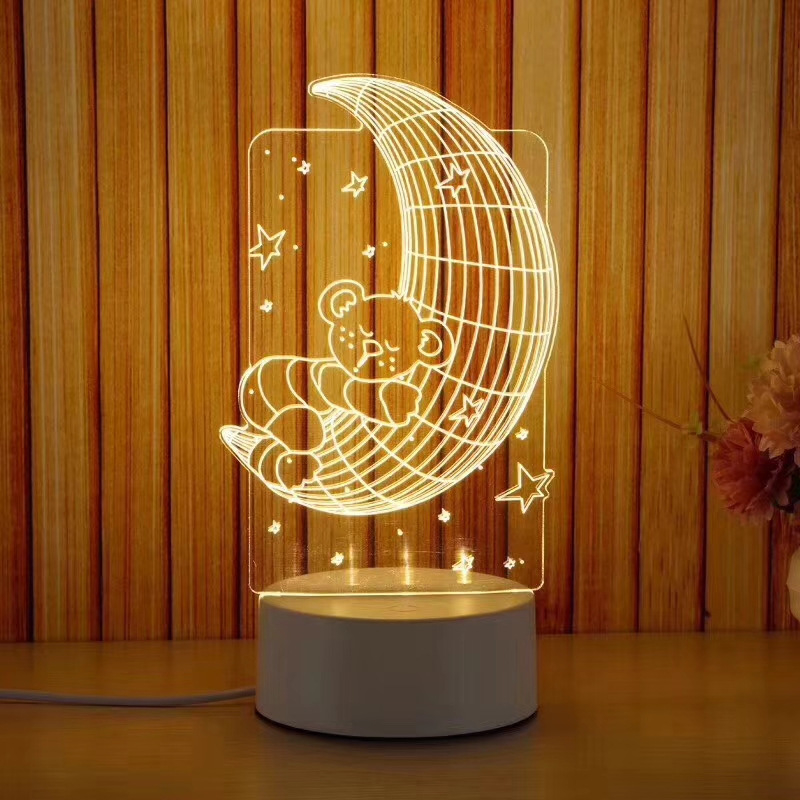 Đèn ngủ 3d ánh sáng sáng tạo mẫu hẹn ước
