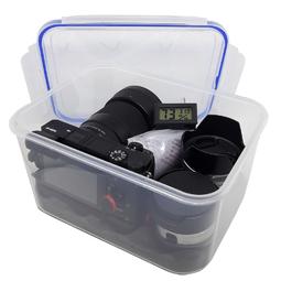 Combo hộp chống ẩm máy ảnh và ẩm kế điện tử, 100gram hạt hút ẩm xanh - dung tích 3,6 lít (tặng mút xốp lót hộp)
