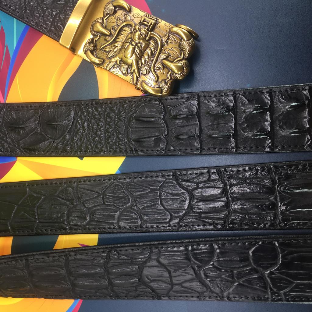 Thắt lưng nam NP252 da thật vân cá sấu bền đẹp, mặt 3D đầu rồng cực đẹp được làm bằng hợp kim cao cấp mạ màu vàng đồng .