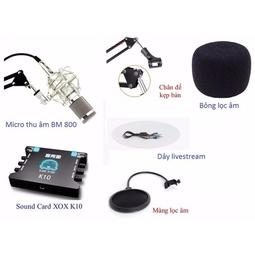Combo bộ Soundcard XOX K10, Mic Thu âm BM-900 Hát Karaoke, Livestream Online - Kèm Giá đỡ Micro, màng Lọc âm, Tai nghe Kiểm âm cao cấp