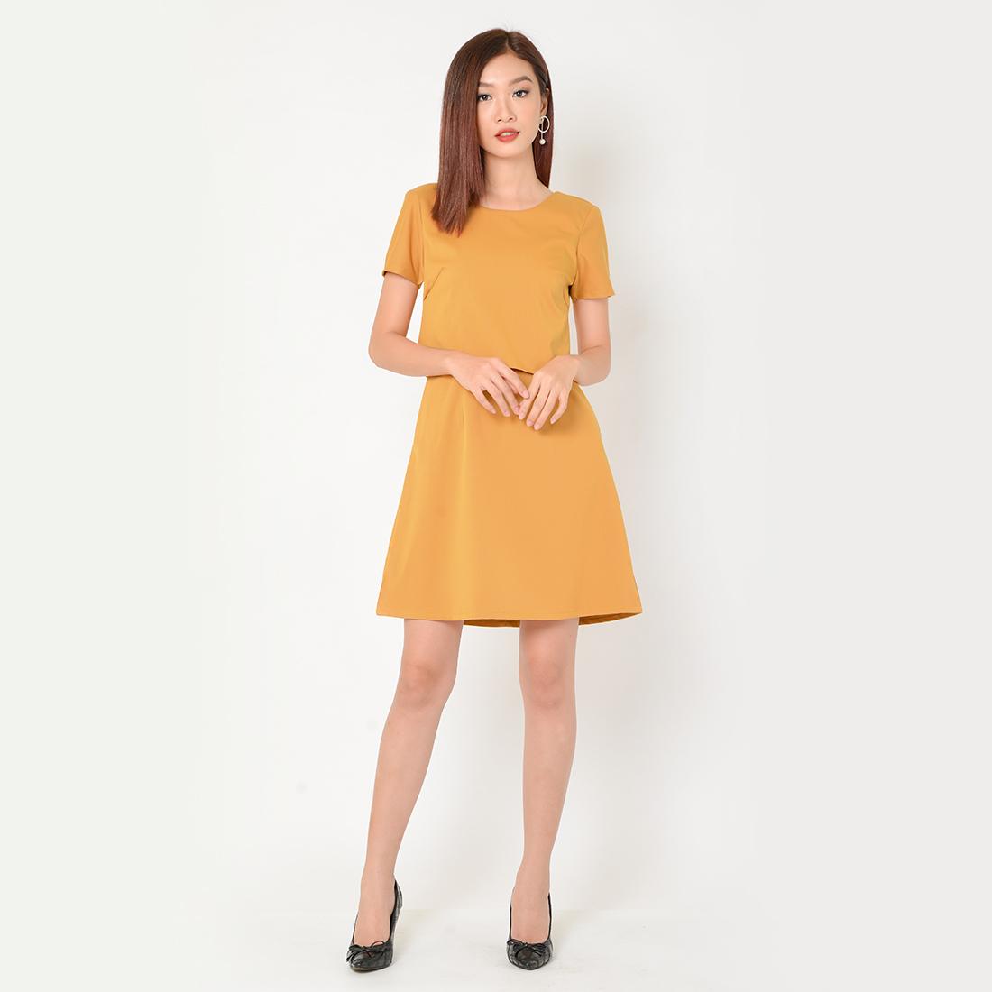 Đầm Suông Công Sở Thời Trang Eden Phối Áo Croptop - D333 - Màu vàng