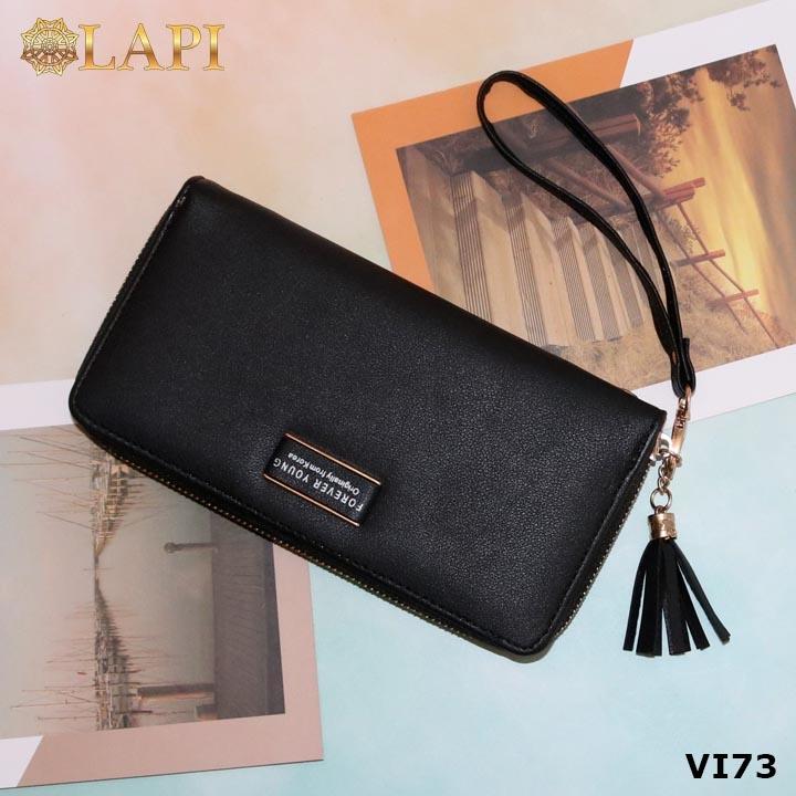 Bóp cầm tay dáng dài khoá kéo kèm phụ kiện mới mẻ, xinh xắn  - màu đen VI73