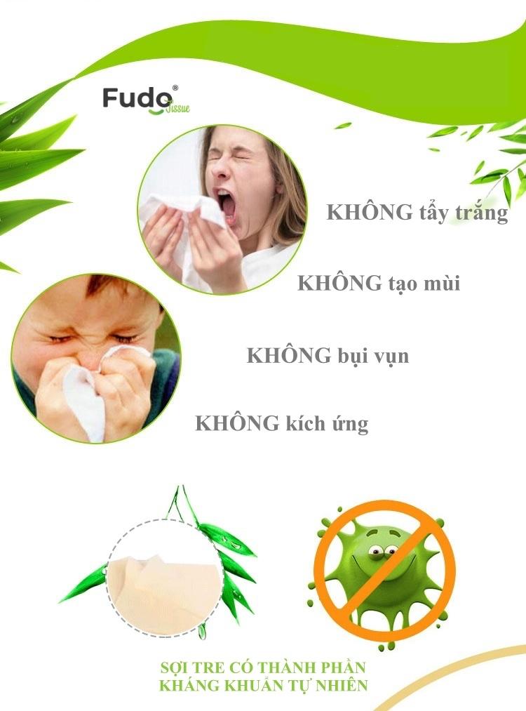Khăn giấy tre Fudo - 8 gói giấy ăn (2 túi): 100% bột tre, không tạo mùi, không tẩy trắng
