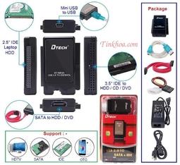 Bộ cáp chuyển USB 2.0 sang Sata IDE DT8003A Dtech