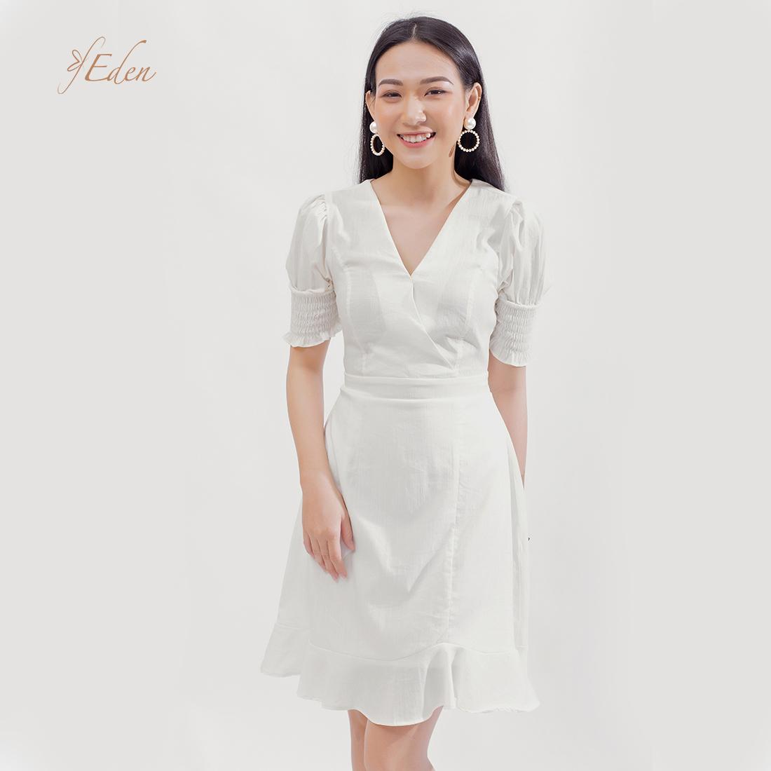 Đầm Chữ A Thời Trang Eden Cổ Tim Tay Chun - D375 - Màu Trắng