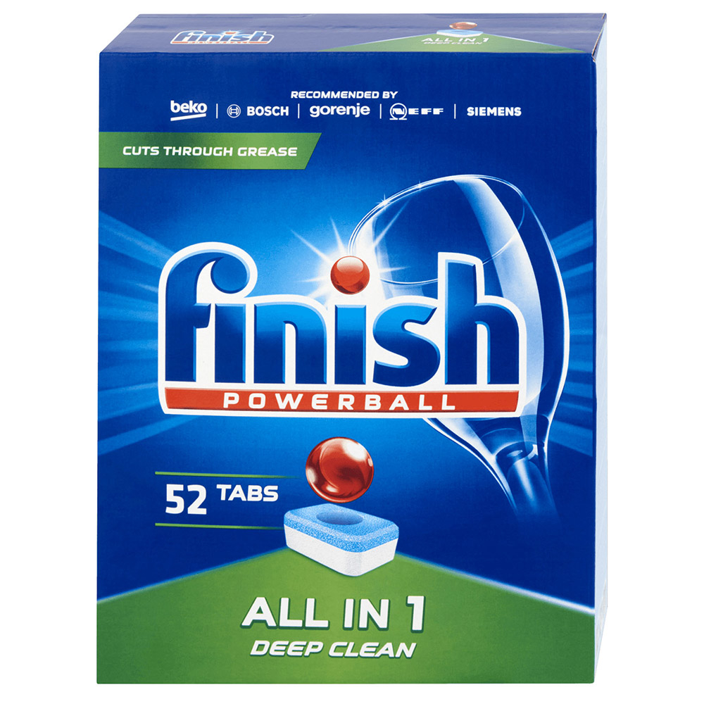 Hộp 52 viên rửa bát Finish All In 1 Dishwasher Tablets QT028268, loại bỏ vết bẩn hiệu quả ngay cả khi nhiệt độ thấp