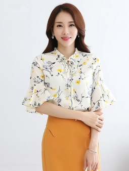 Áo voan nữ tay nỡ màu trắng cao cấp - Hàng nhập Quảng Châu