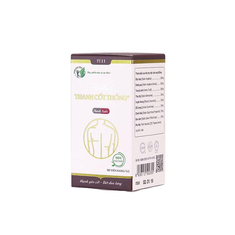 Combo 4 hộp thực phẩm chức năng hỗ trợ điều trị đau lưng, đau thần kinh tọa Thanh Cốt Thống 90 viên