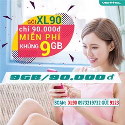 Tặng miễn phí tháng đầu tiên - Sim 4G Viettel XL90 Khuyến Mại 9GB/Tháng