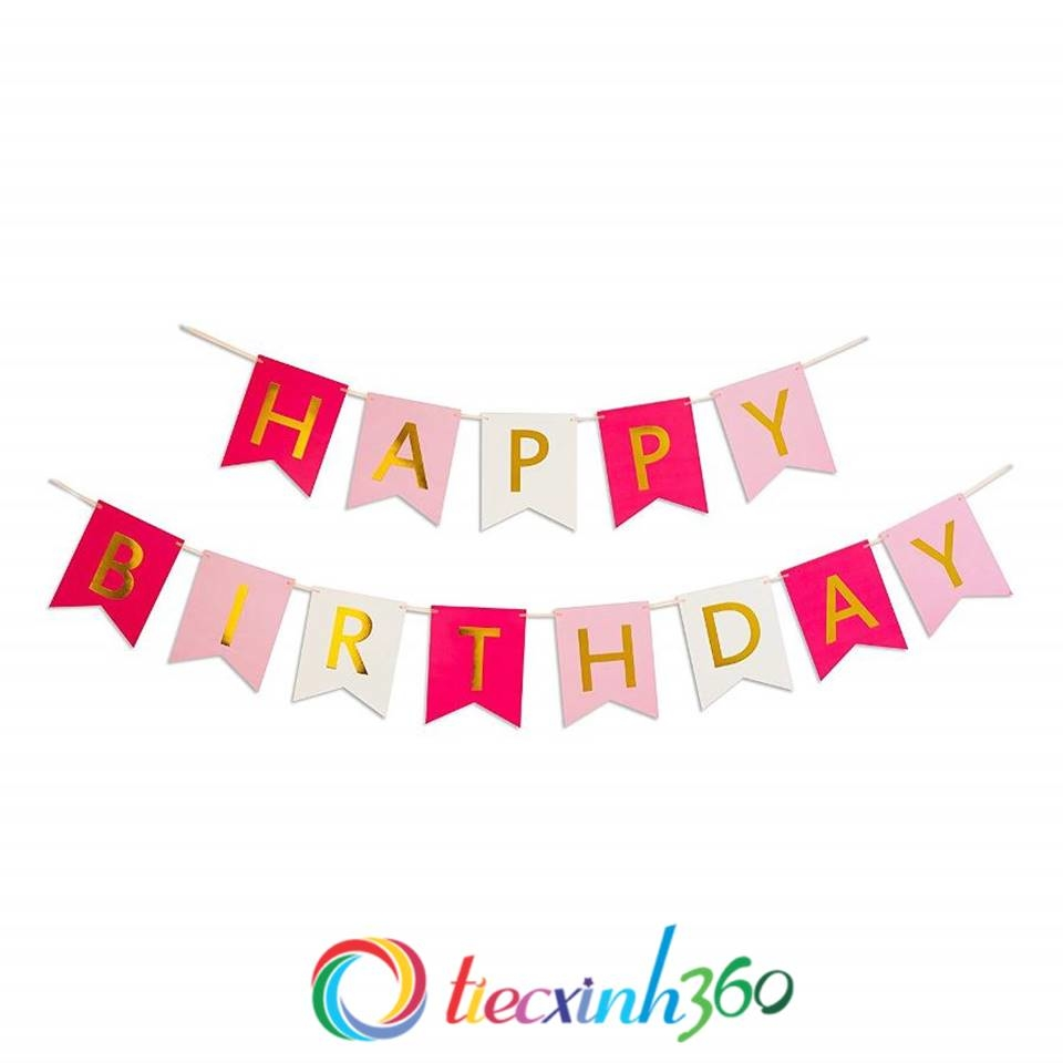 Dây chữ Happy Birthday trang trí sinh nhật - Hồng - Trắng