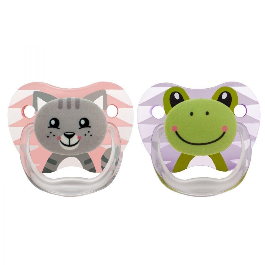 Set 2 ty ngậm Dr.Brown's dành cho bé từ 0-6 tháng con mèo và con ếch dành cho bé gái