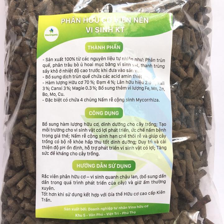 Phân vi sinh hữu cơ viên nén KT túi 1kg tốt cho mọi cây trồng - Phân vi sinh hữu cơ Kiên Trần