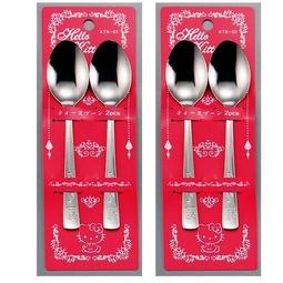 Combo 2 Set 2 thìa inox Hello Kitty cho bé - Nội địa Nhật Bản