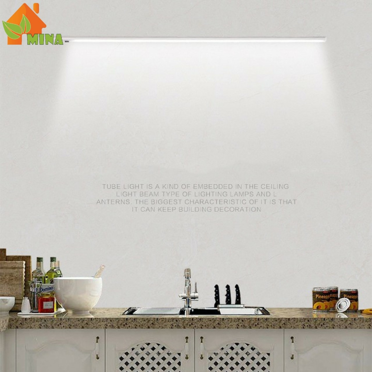 [GIÁ SẬP SÀN]_Đèn led tủ bếp cảm ứng MINA, Đèn led tủ bếp vẫy tay, Đèn led tủ bếp cảm ứng vẫy tay, Đèn led tủ bếp bật tắt không chạm_Combo 2 đèn 1 mét anh sáng vàng_ Tặng 1 nguồn 24 V trị giá 120k