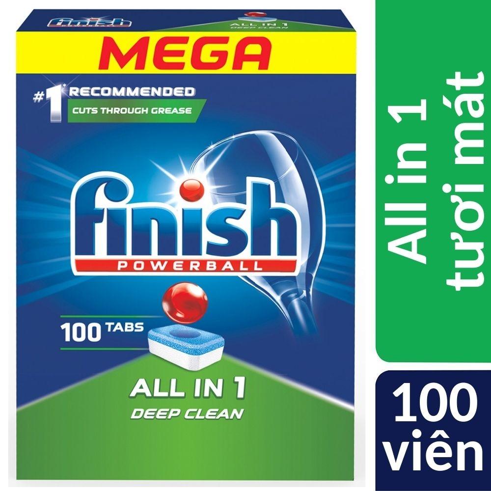 Hộp 100 viên rửa bát Finish All In 1 Dishwasher Tablets QT04592, loại bỏ vết bẩn hiệu quả ngay cả khi nhiệt độ thấp