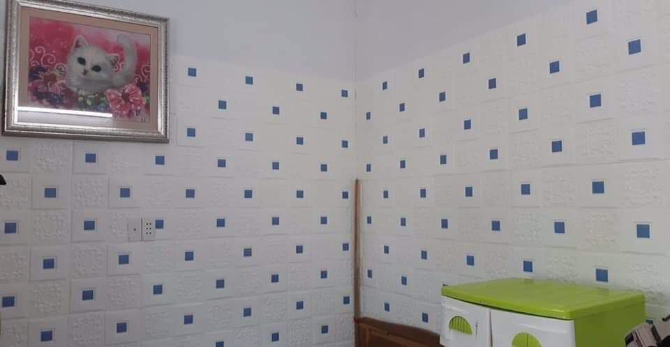 [ Xốp dán tường ][ MÀU XANH NHẠT ]  Combo 10 tấm xốp dán tường giả da đính decal ,  siêu đẹp, siêu bền , sang trọng lịch lãm - HERA SHOP