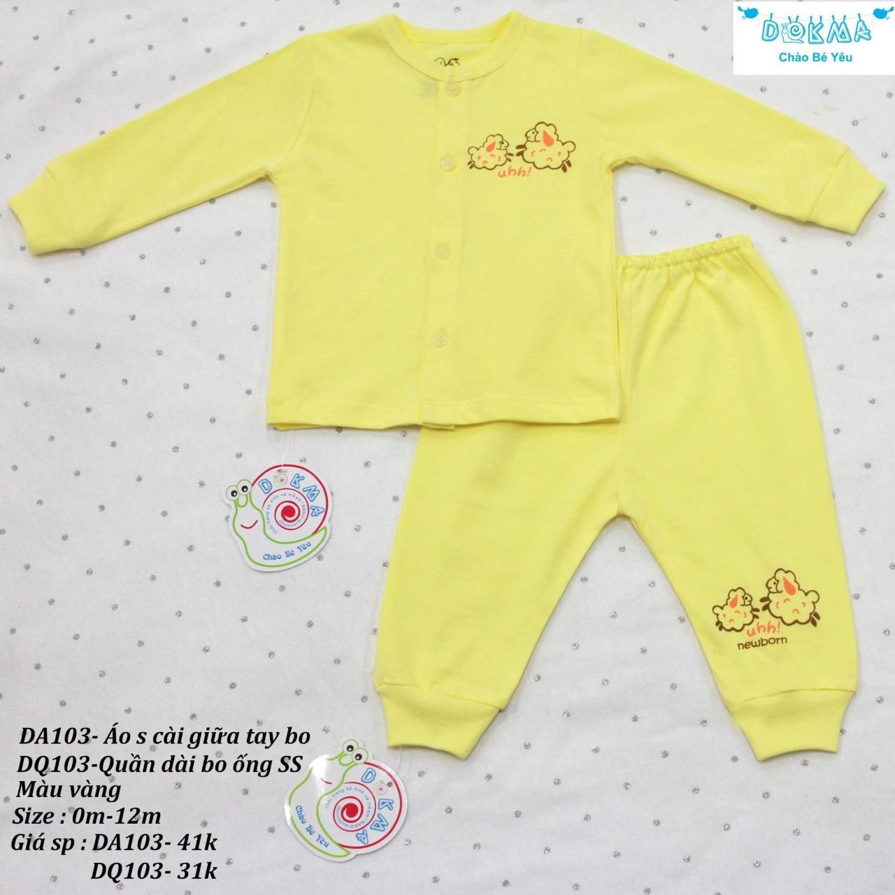 Bộ quần áo dài tay DOKMA màu xanh cho bé sơ sinh đến 12 tháng