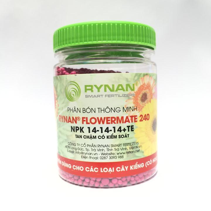 Phân tan chậm thông minh Rynan Flowermate 240 NPK 14-14-14 TE hũ 150g chuyên dùng cho các loại cây cảnh có hoa