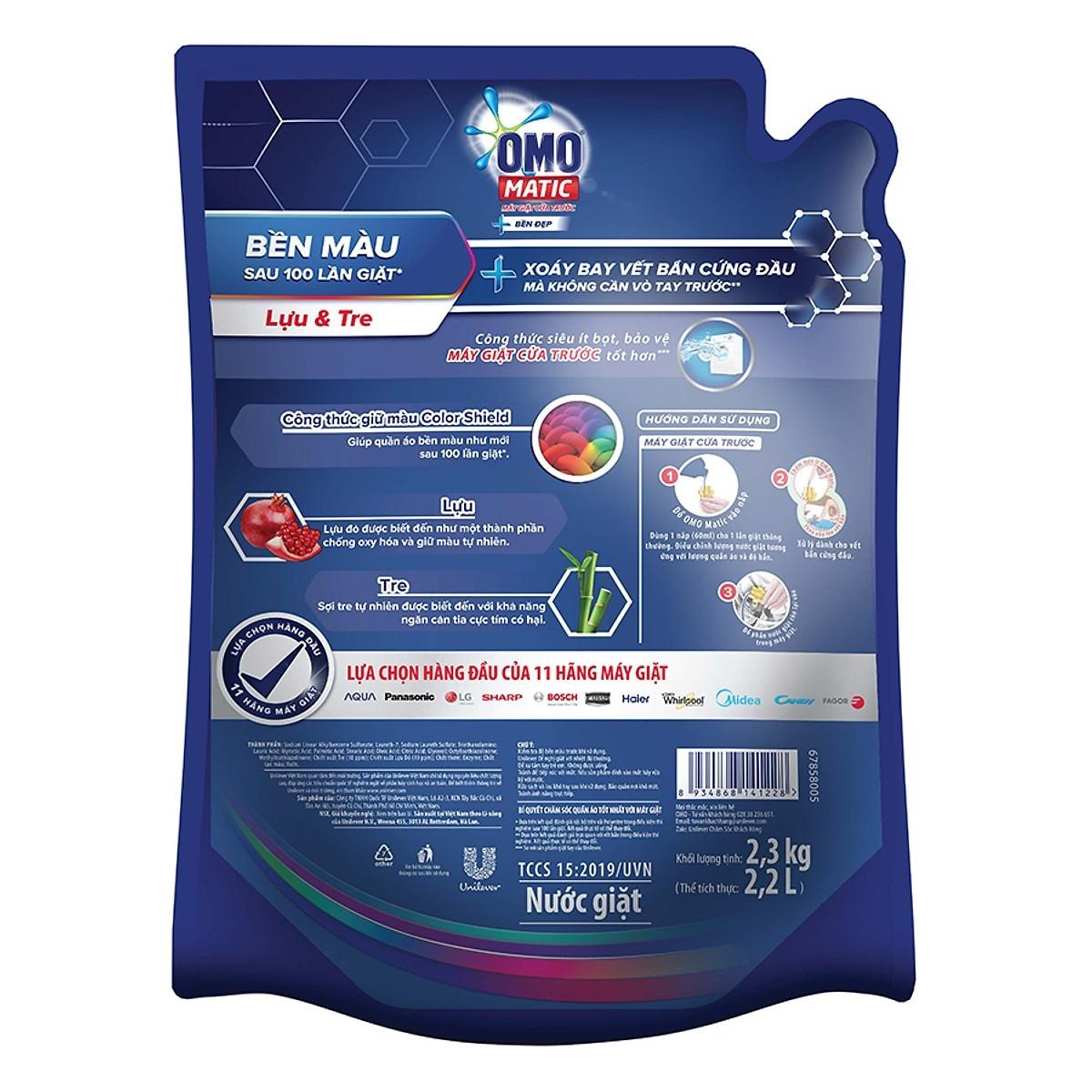 Nước giặt omo matic bền đẹp cửa ngang ( trước) túi  2.3 kg