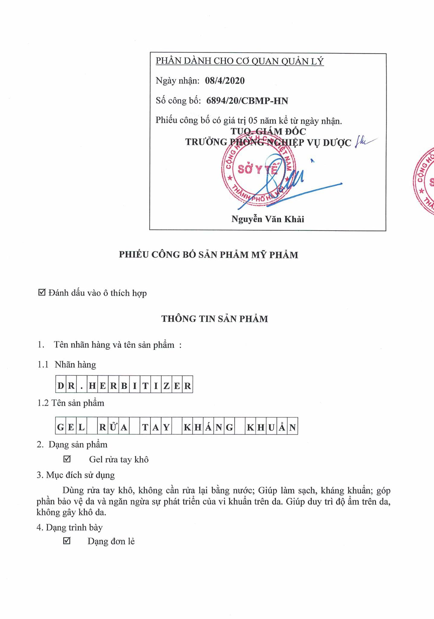 Gel/Dung dịch rửa tay cao cấp kháng khuẩn Dr. Herbitizer 500ml