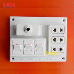 Bảng điện nổi LiOA 15A có 3 ổ cắm 3 công tắc B-CB15A3C