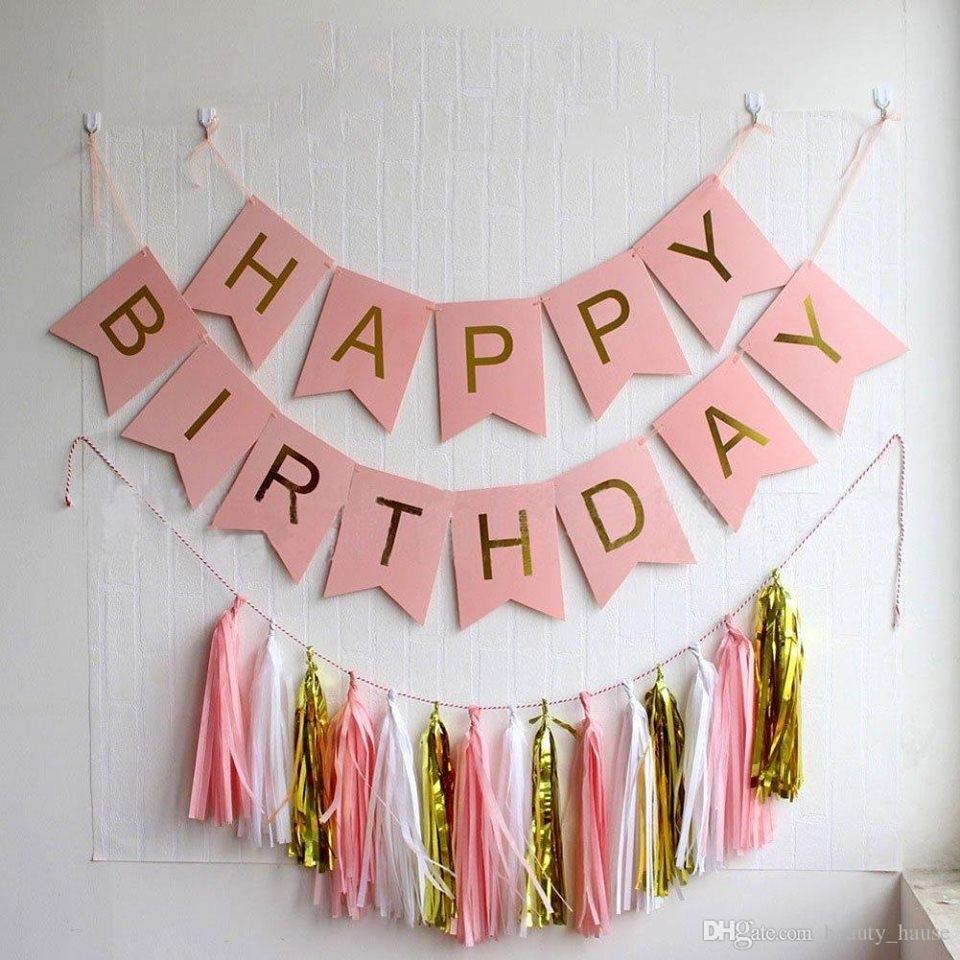 Dây chữ Happy Birthday trang trí sinh nhật (Hồng)
