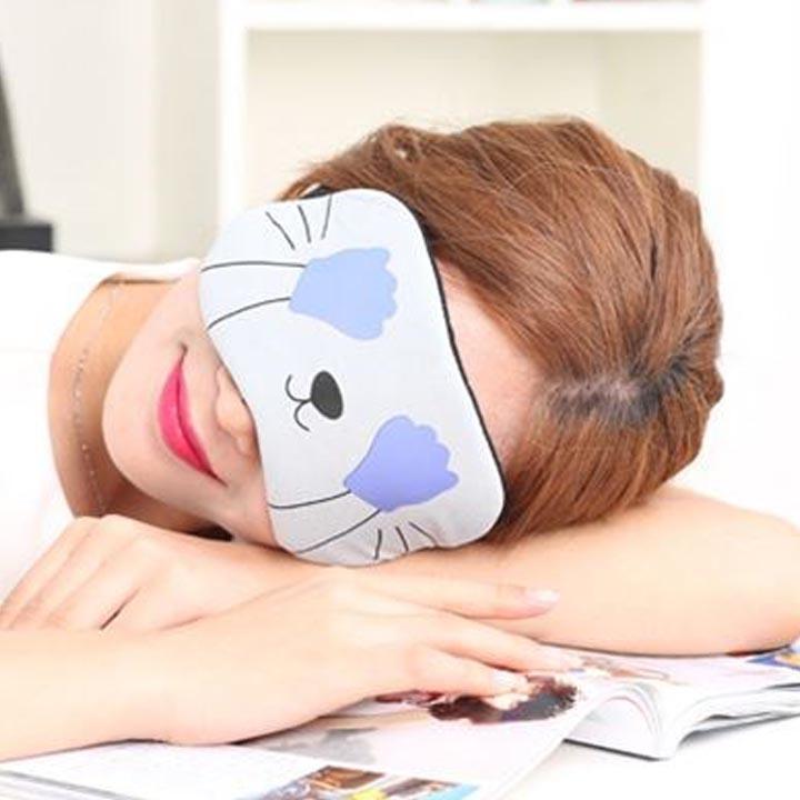 Miếng bịt mắt ngủ 3D có túi gel làm mát mắt hoạ tiết những chú mèo đêm kèm 2 cặp nút tai giảm tiếng ồn xám tay xanh MBM11