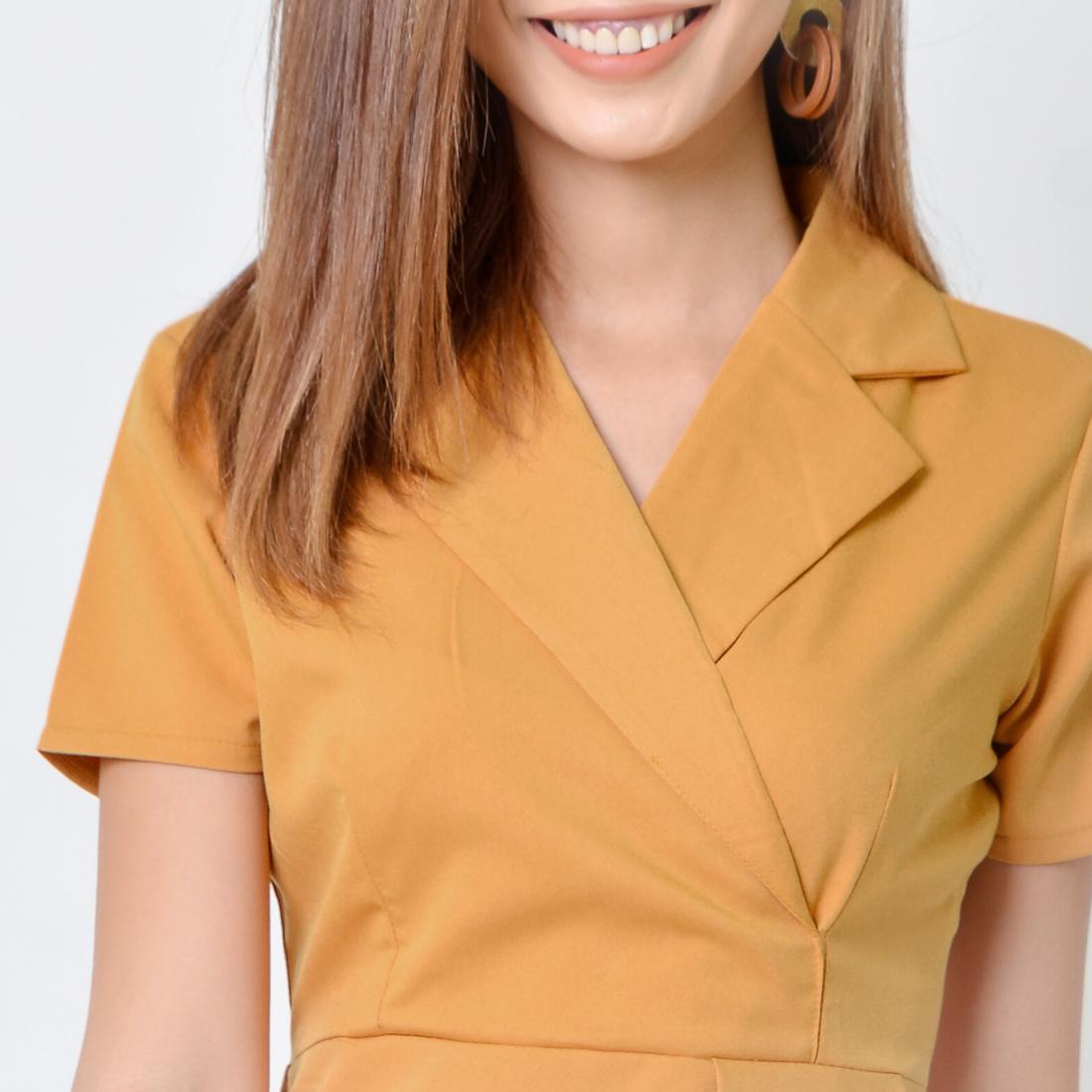 Đầm Chữ A Thời Trang Eden Cổ Vest - D356 - Màu Vàng