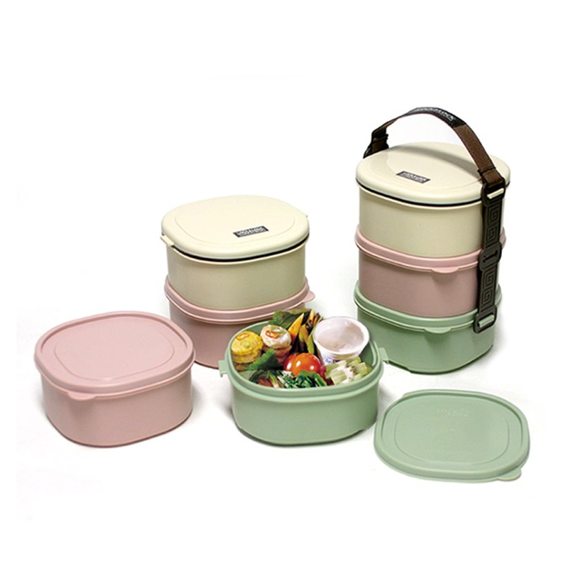 [Lock&Lock] Bộ hộp cơm 3 tầng -Tier Lunch Box 520ml*3, 136*126*180mm