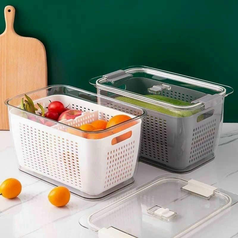 [SIZE LỚN]Hộp đựng thực phẩm tủ lạnh 2 lớp kiểu nhật có lắp đậy và lỗ thoát nước cao cấp