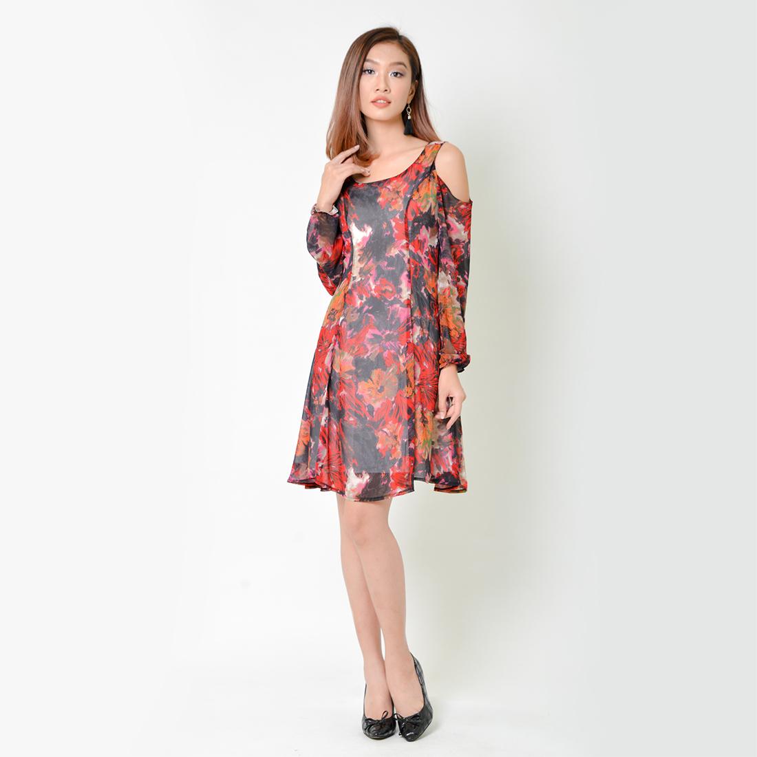 Đầm Xòe Thời Trang Eden Dài Tay In Hoa - D335 - Màu Đỏ